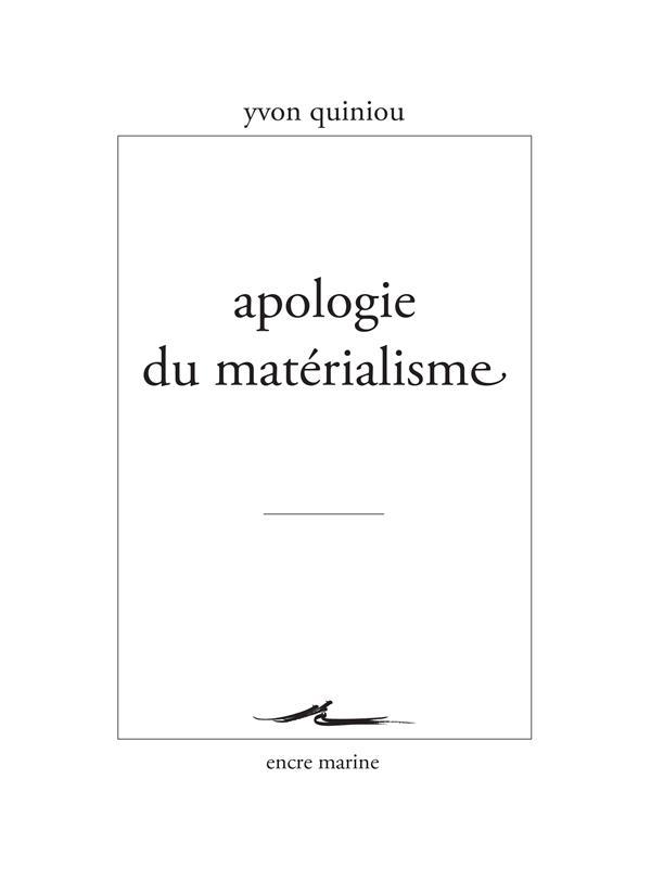 Apologie du materialisme