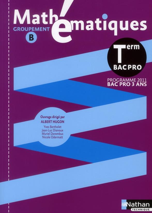 Mathématiques ; terminale bac pro (pochette) ; groupement B ; livre de l'élève (édition 2011)