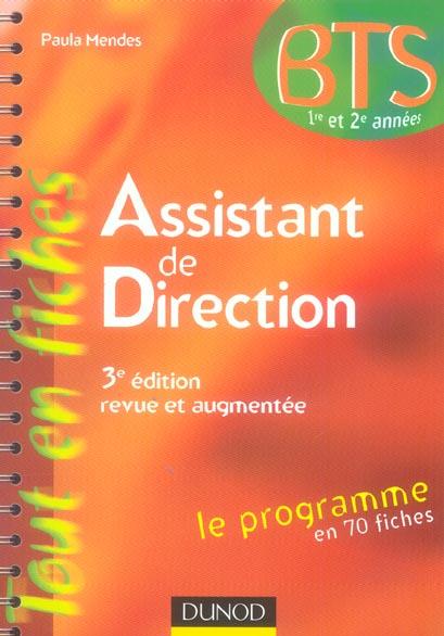 Bts assistant de direction - 3eme edition - le programme en 70 fiches