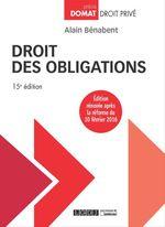 Vente Livre Numérique : Droit des obligations - 15e édition  - Alain Bénabent