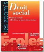 Vente Livre Numérique : Les Zoom's. Droit social - 12e édition  - Dominique Grandguillot