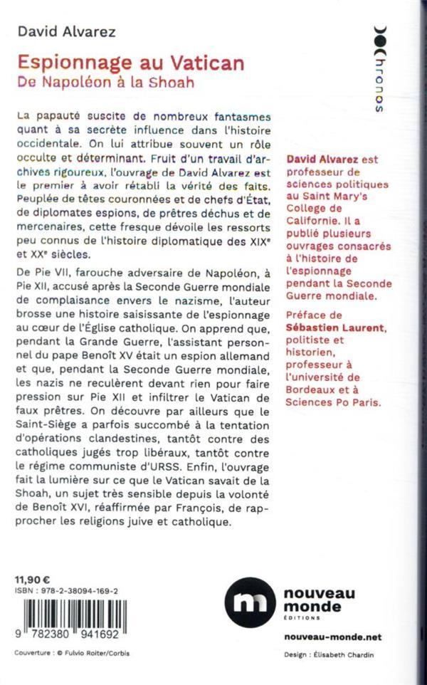 Espionnage au Vatican ; de Napoléon à la Shoah