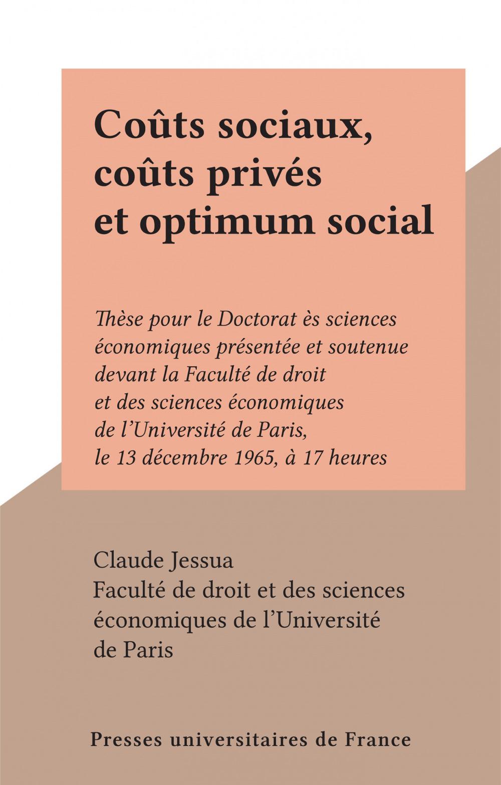 Coûts sociaux, coûts privés et optimum social