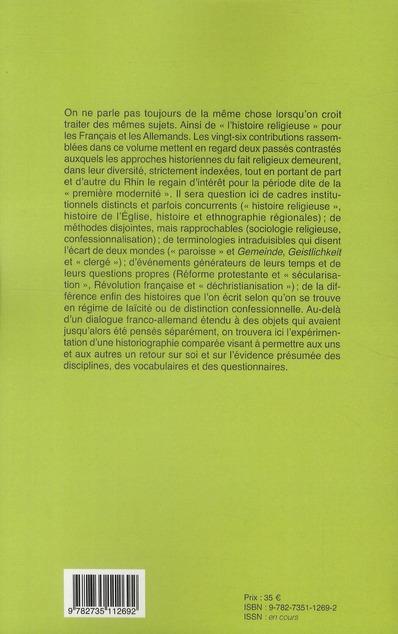 Religion ou confession ; un bilan franco-allemand sur l'époque moderne (XVI-XVII siècles)