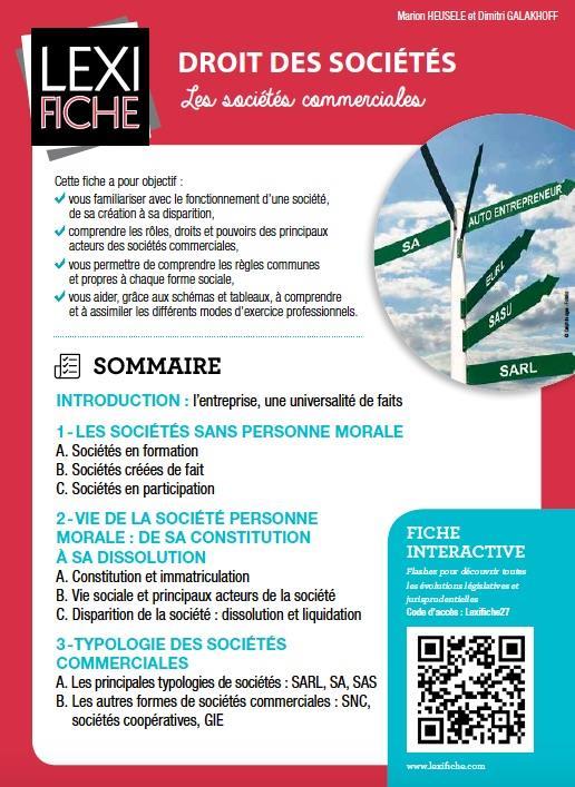Droit Des Societes ; Les Societes Commerciales