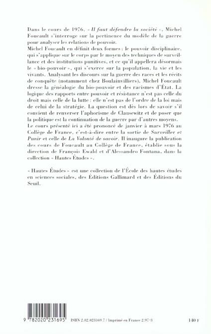 il faut défendre la société ; cours au Collège de France, 1976