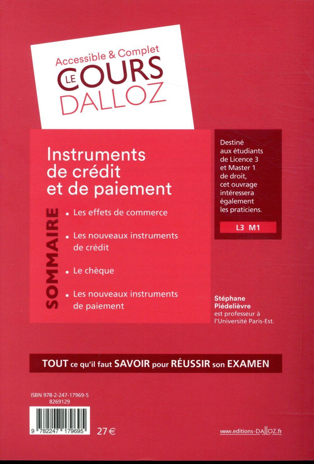 Instruments de paiement et de crédit (édition 2018)