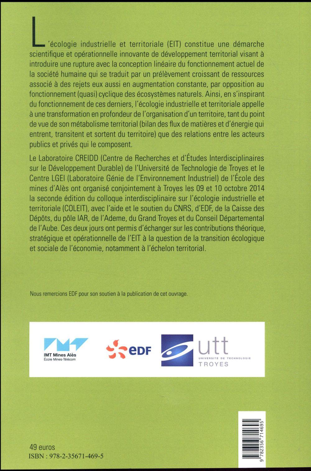 écologie industrielle et territoriale ; COLEIT 2014 (édition 2017)
