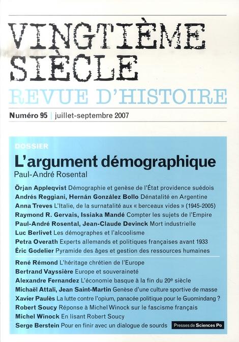Revue vingtieme siecle n.95 ; l'argument demographique (edition juillet-septembre 2007)