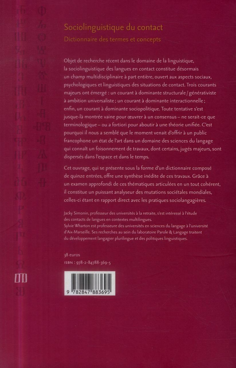 Sociolinguistique du contact. dictionnaire des termes et concepts