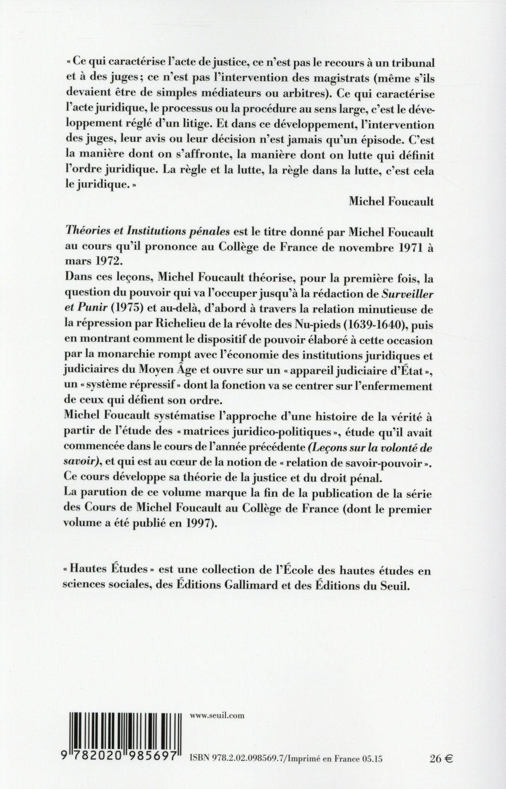 théories et institutions pénales ; cours au Collège de France, 1971-1972