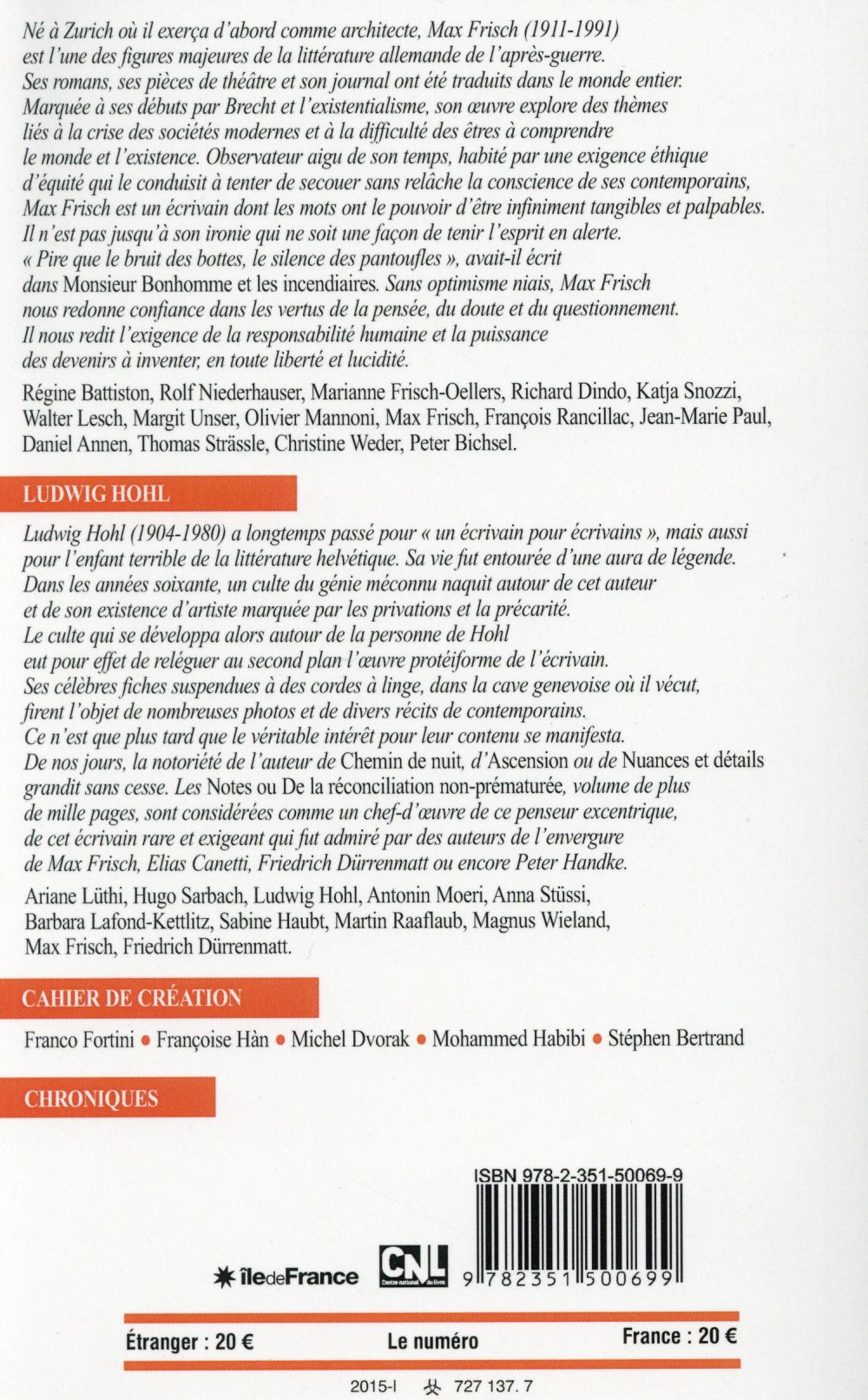 Revue europe t.1029; 1030 ; max frisch-ludwig hohl ; janv-fevrier 2015