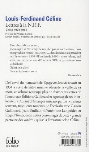 Lettres à la N.R.F. (1931-1961)