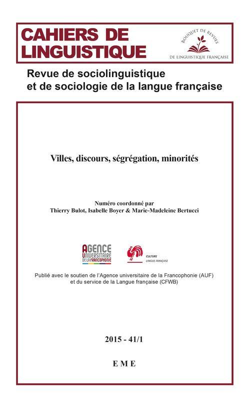 Villes, discours, segregation, minorites - vol4112015