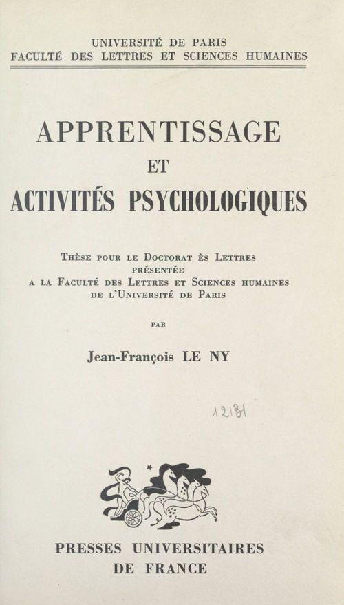 Apprentissage et activités psychologiques