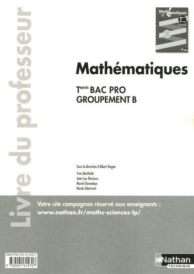 Mathématiques ; terminale bac pro ; groupement B ; livre du professeur (pochette)