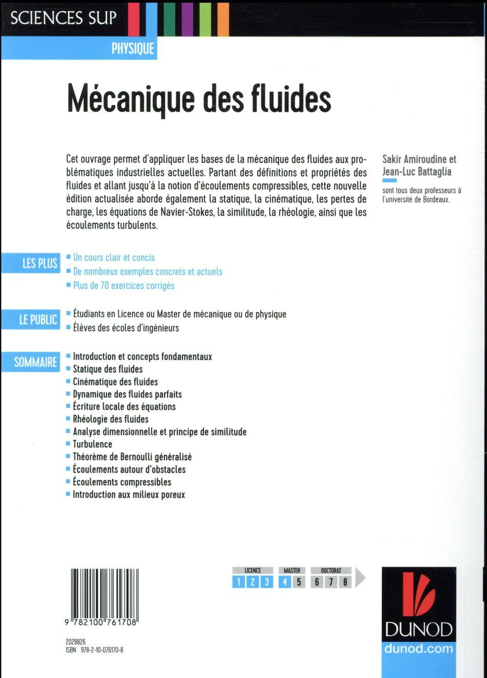 Mecanique Des Fluides Cours Et Exercices Corriges 3e Edition Sakir Amiroudine Dunod Grand Format Arthaud Grenoble