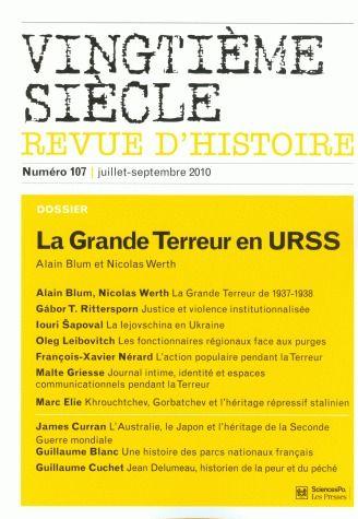 Revue vingtieme siecle t.107; septembre 2010