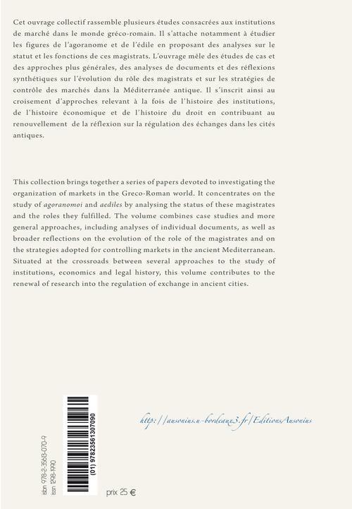 Agoranomes et édiles ; institutions des marchés antiques