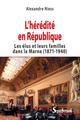 L'heredite en republique - les elus et leurs familles dans la marne (1871-1940)  - Alexandre Niess