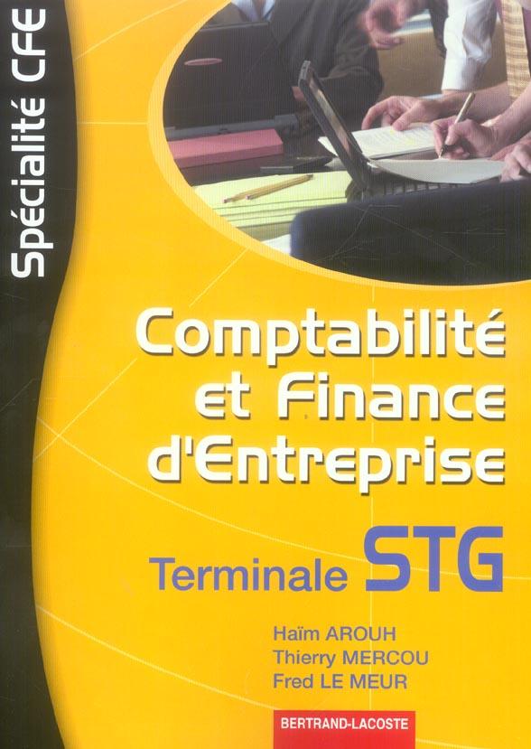 Comptabilité et finance d'entreprise ; terminale STG ; manuel de l'élève