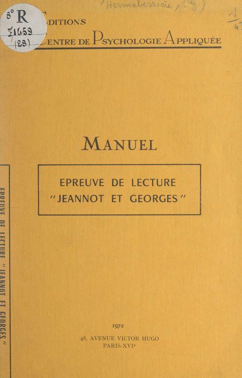 Épreuve de lecture Jeannot et Georges