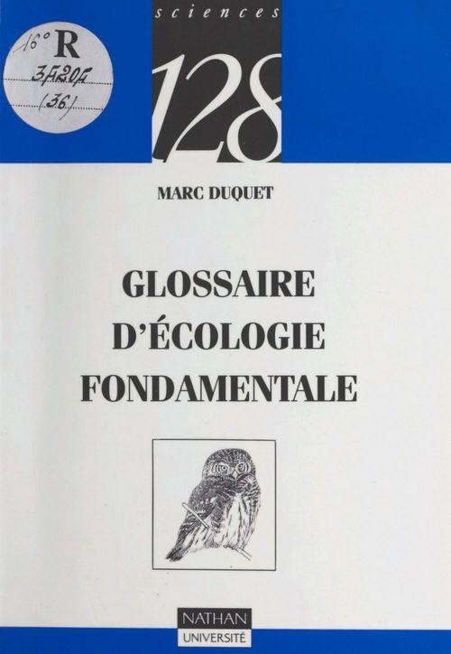 Glossaire d'écologie fondamentale