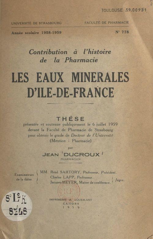 Les eaux minérales d'Île-de-France