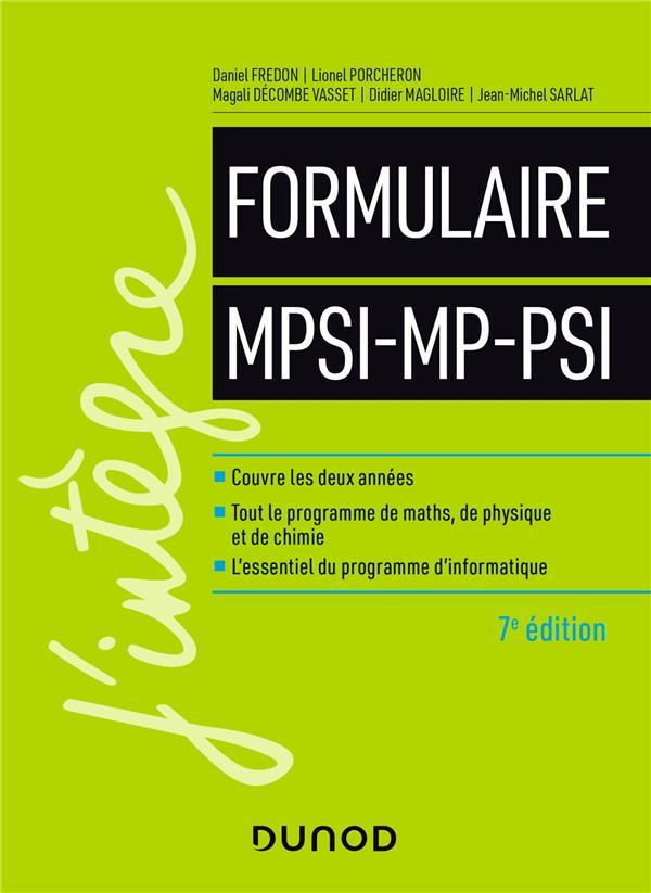 Le formulaire MPSI-MP-PSI (7e édition)
