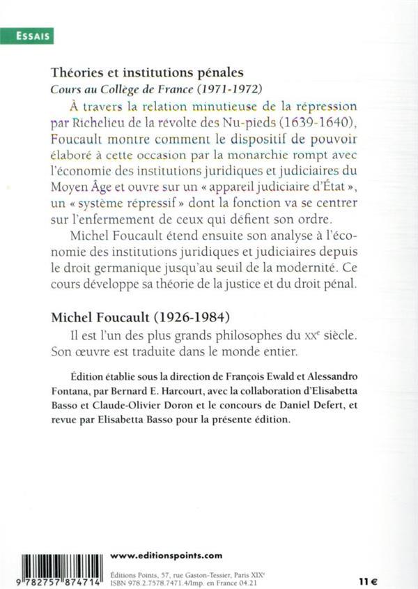 Théories et institutions pénales : cours au Collège de France, 1971-1972