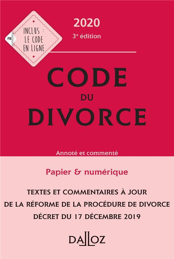 Code du divorce, annoté et commenté (édition 2020)