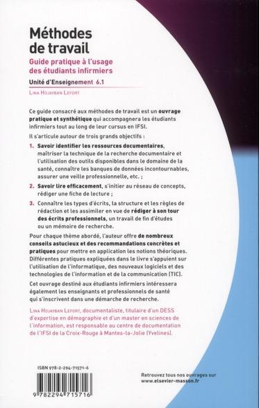 Méthodes de travail ; U.E. 6.1 ; guide pratique à l'usage des étudiants infirmiers
