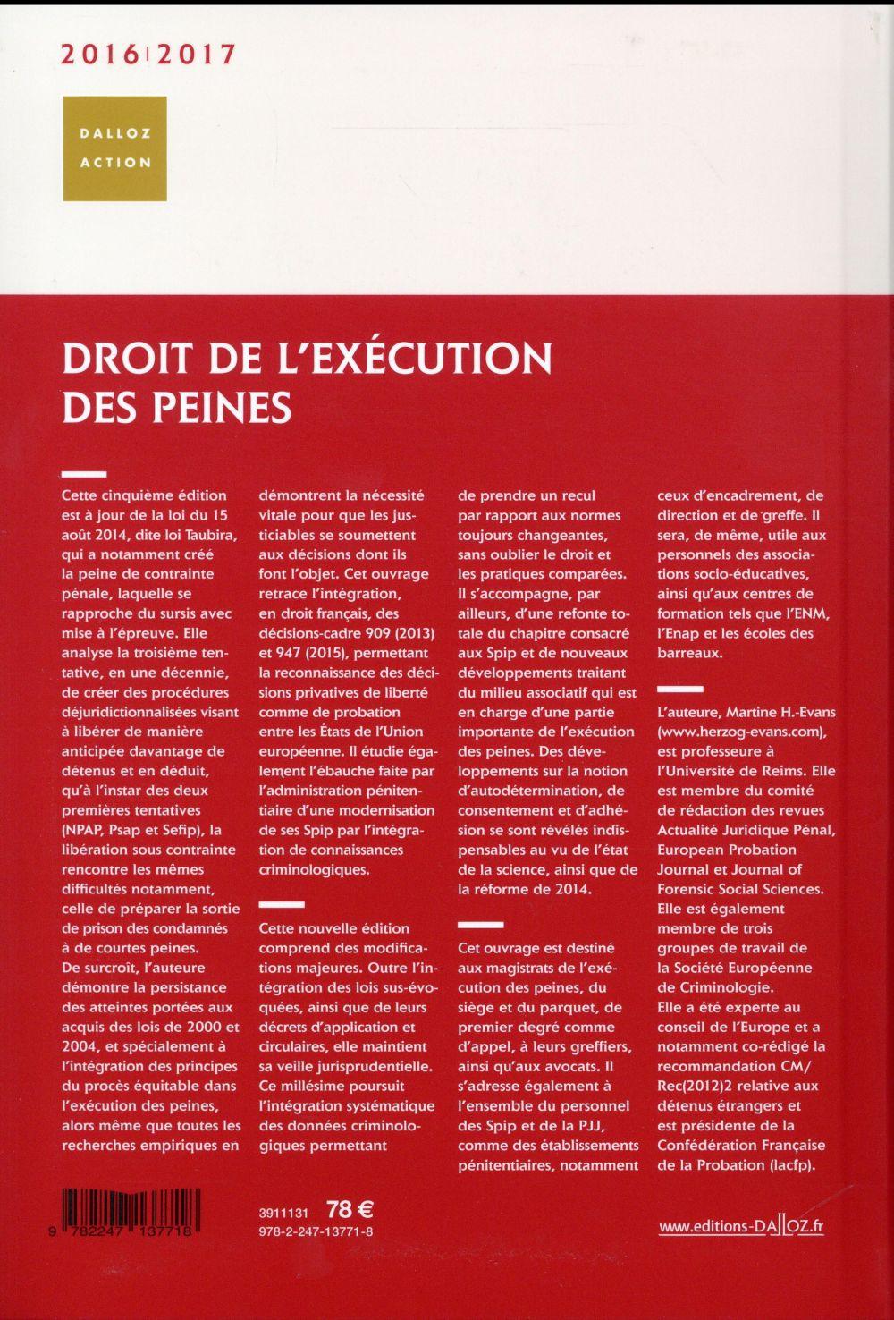 Droit de l'exécution des peines (édition 2016/2017)
