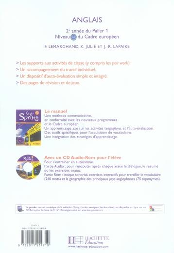 NEW SPRING ; anglais ; 5ème ; LV1 ; workbook (édition 2007)