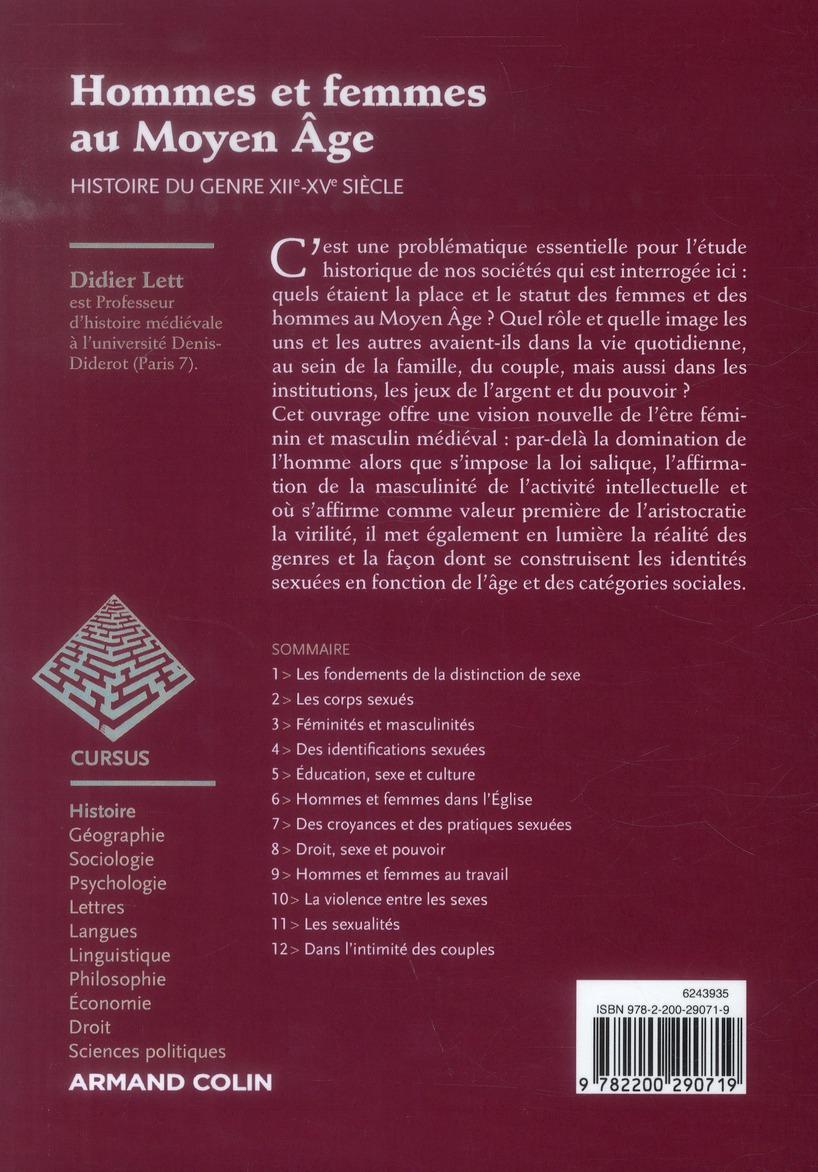 Hommes et femmes au Moyen Age ; histoire du genre, XIIe-XVe siècle