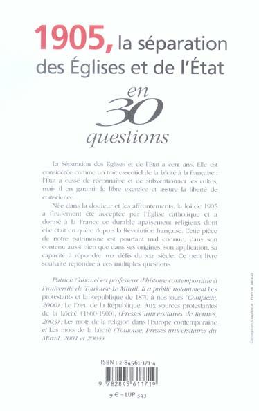 1905 la separation de l'eglise et de l'etat en 30 questions