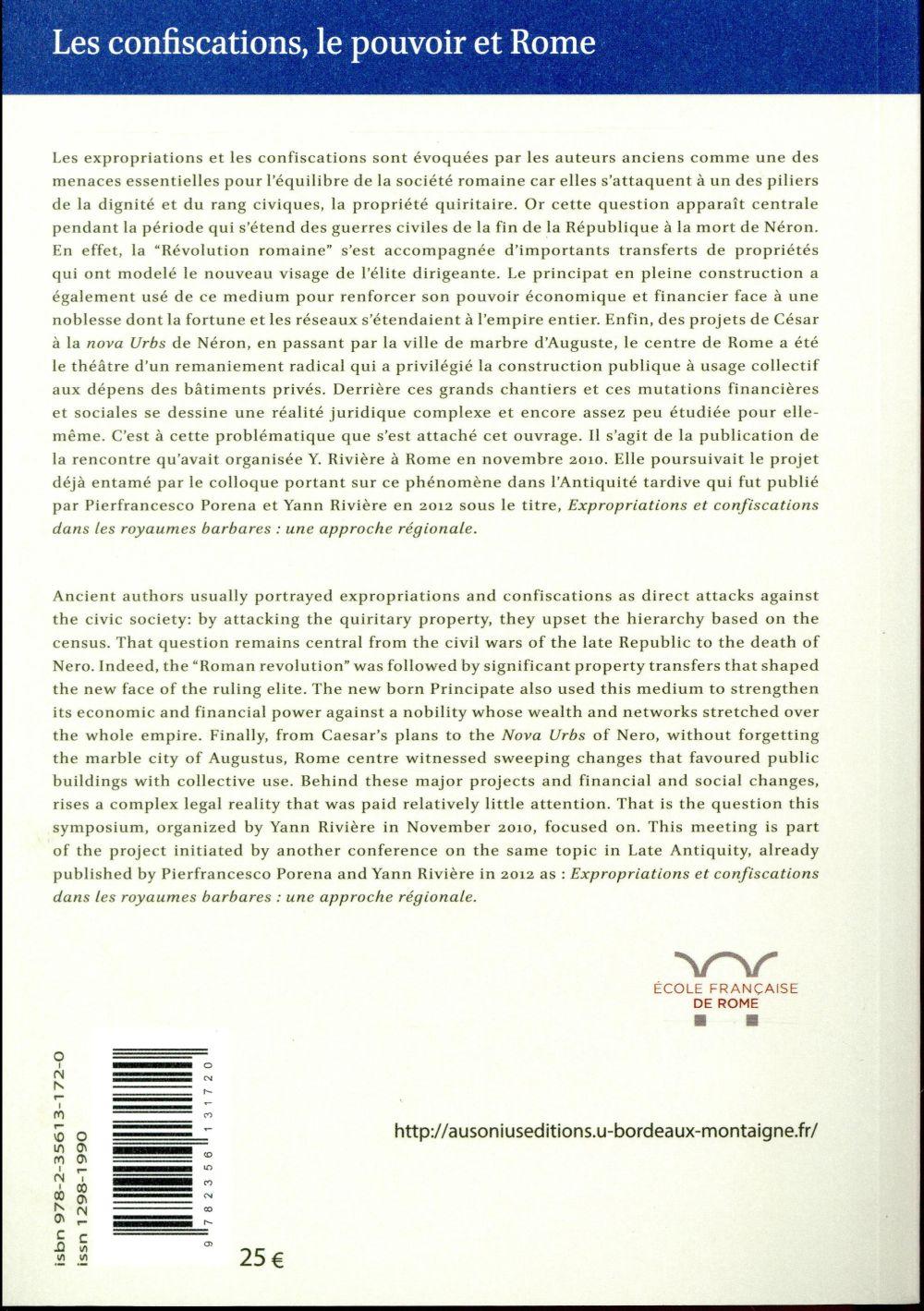 Confiscations le pouvoir et rome de la fin de la republique a la mort de neron