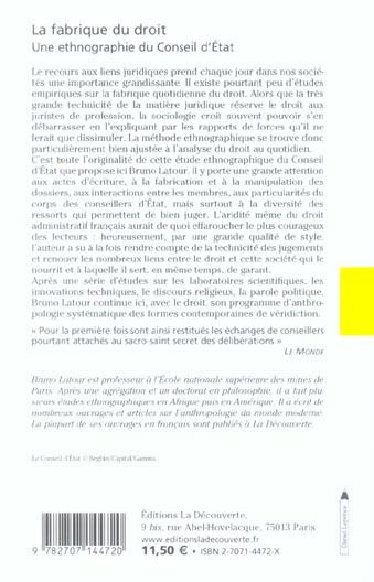 La fabrique du droit ; une ethnographie du Conseil d'Etat