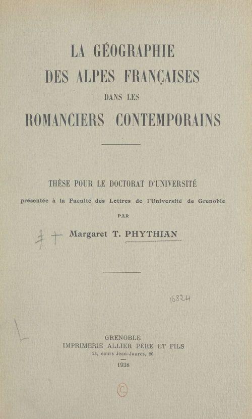 La géographie des Alpes françaises dans les romanciers contemporains