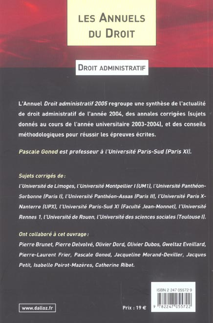 Droit administratif 2005 l'essentiel de l'actualite juridique, methodes et annales (édition 2005)