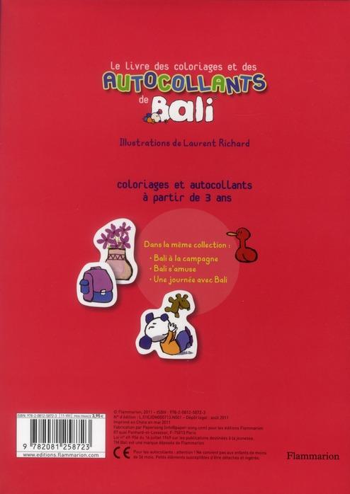 Le livre des coloriages et des autocollants de Bali ; Bali et ses amis