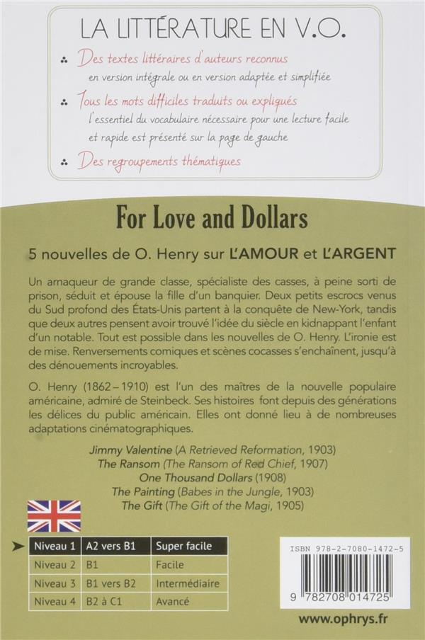 histoires faciles à lire ; anglais ; niveau 1 ; for love and dollars ; 5 short stories by O. Henry