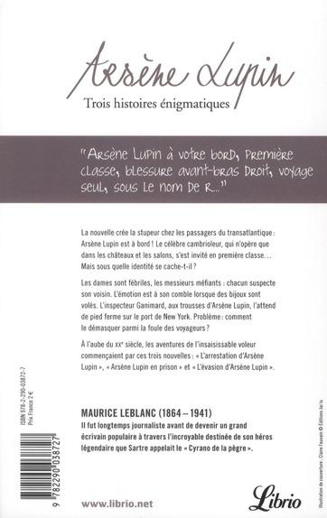 Arsène Lupin ; 3 nouvelles énigmatiques