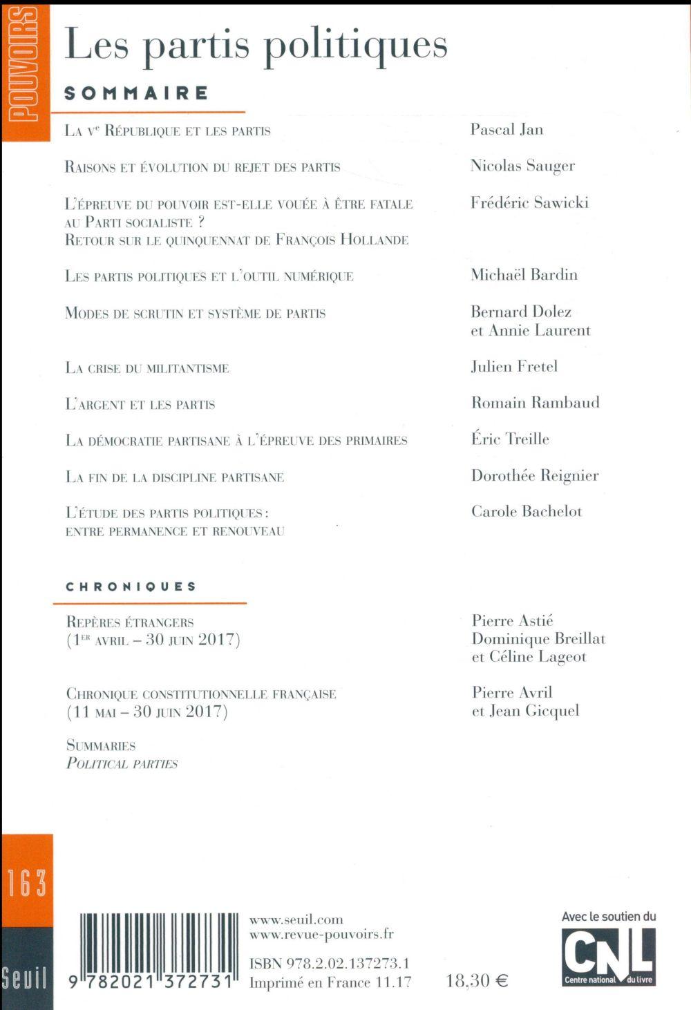 REVUE POUVOIRS n.163 ; les partis politiques