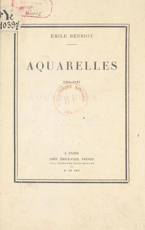 Aquarelles, 1914-1921