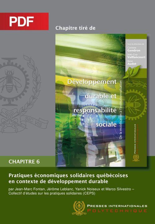 Pratiques économiques solidaires québécoises en contexte de développement durable (Chapitre PDF)