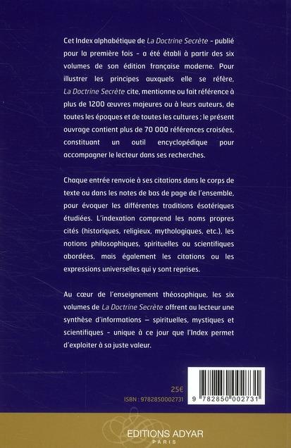 Index des six volumes de la doctrine secrète de H.P. Blavatsky