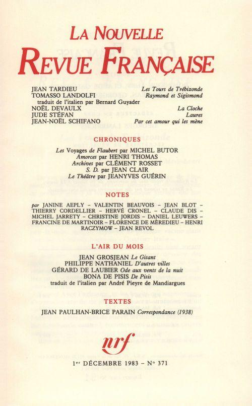 La Nouvelle Revue Française N° 371  - Collectifs  - La Nouvelle Revue Francaise