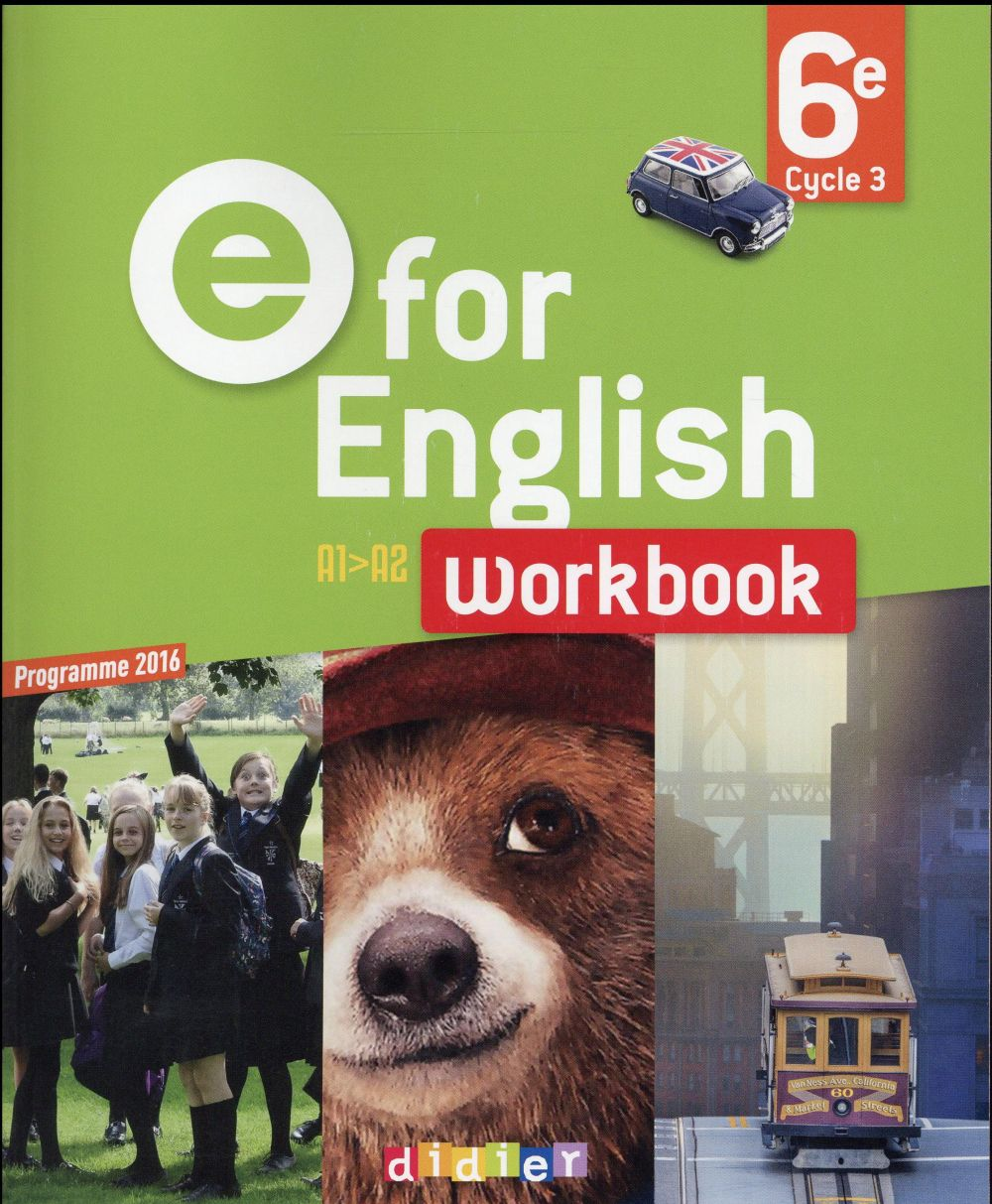 E FOR ENGLISH ; anglais ; 6ème ; worbook