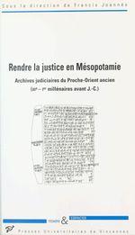 Rendre la justice en Mésopotamie